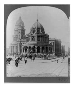 Historic Print (L): City Hall and Hall of Records, costing $7,000,000.00, from McAllister Street, San Franci
