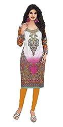 Stylish Girls Women Cotton Printed Unstitched Kurti Fabric (DT119_White_Free Size)