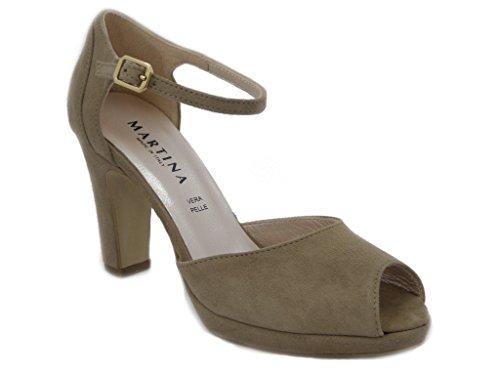 Sandalo Martina in camoscio, SCARPA con tacco 9cm. e palteau 1cm., SUOLA IN gomma ANTISCIVOLO, Estivo-16543