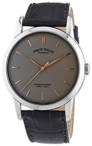 Armand Nicolet Men's Mechanical Watch with Grey Dial Analogue Display and Grey Leather Strap 9670A-GS-P670GR1