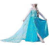 Vogueeasy - Costume de Reine des Neiges pour Enfants - Costume Carnaval Anniversaire Halloween - bleu - 120