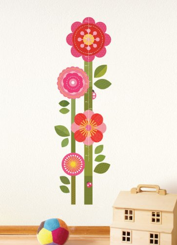 Petit Collage Fabric Wall Growth Chart Decal, Flower