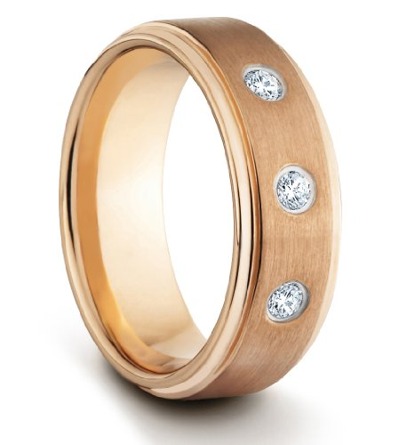 8MM Tungsten Carbide Mens/Ladies/Unisex Brushed & Polished Rose Gold Comfort Fit Wedding Band Ring w/ 3 CZ Diamonds (Available Sizes N - Z+2)
