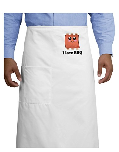 I Love BBQ Ribs Adult Bistro Apron - White - One-Size
