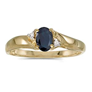10k Yellow Gold Oval Sapphire And Diamond Ring (Size 8)