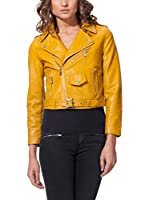 L'OLIVE VERZE Chaqueta Cropped Biker With Belt Detail (Amarillo)
