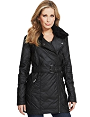 M&S Collection Pure Cotton Belted Waxy Biker Coat
