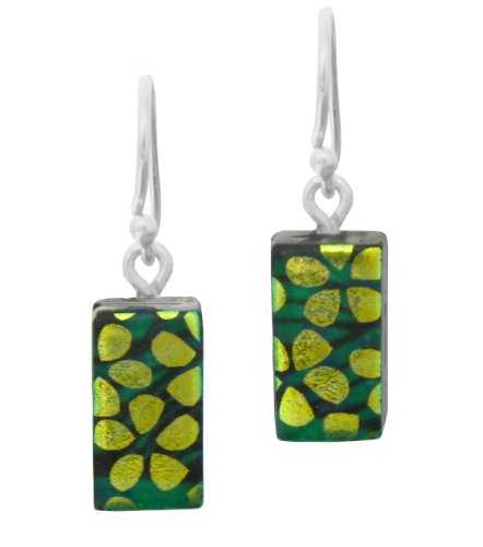Sterling Silver Dichroic Glass Flowers on Green Swirls Pattern Rectangular Earrings