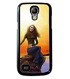 PRINTVISA Girl sit sad movement Premium Metallic Insert Back Case Cover for Samsung Galaxy S4 Mini - D5852