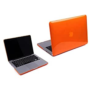 """Gioiabazar Transparent Glossy Hard Case for MacBook Pro 13.3""""-Top and Bottom Case - See Thru Orange"""