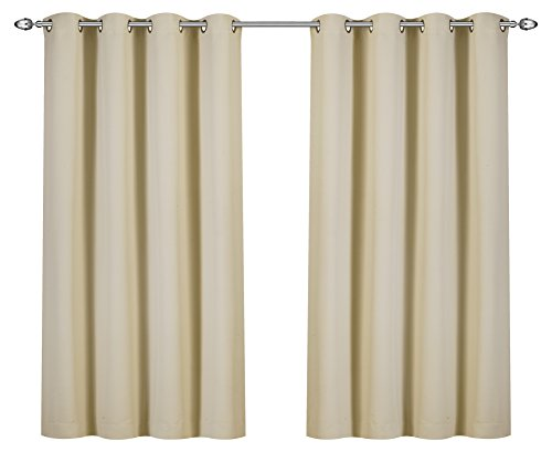 Utopia Bedding Blackout Room Darkening and Thermal Insulating Window Curtains/Panels/Drapes - 2 Panels Set - 8 Grommets per Panel - 2 Tie Backs Included