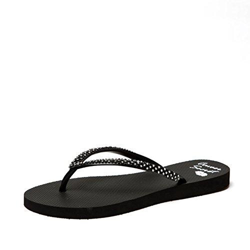 Mesdames américaines strass fashion goupille serrage en tongs d'été/Sandales plates/sandales