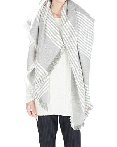 Zando Women's Stylish Warm Blanket Tartan Plaid Big Scarf Blanket Wrap Shawl White Grey (Snow White Outfit Ideas)
