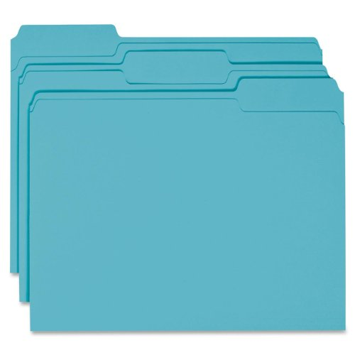 Smead File Folder, 1/3-Cut Tab, Letter Size, Teal, 100 per Box (13143) (Teal Office Supplies compare prices)