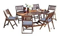 Big Sale Outdoor Interiors S10555 7-Piece Fold and Store Table Set, Eucalyptus, All Wood
