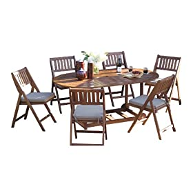 Outdoor Interiors S10555 7 Piece Fold And Store Table Set