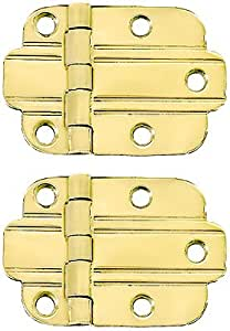 Pair of Solid Brass Art Deco Surface Cabinet Hinges With Choice of Finish