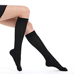 Fytto Style 1007 Women\'s Ultra Sheer Compression Socks, 15-20mmHg, Knee High, Black, Medium Size