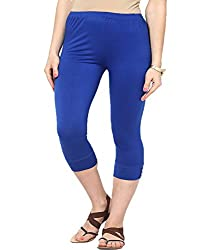 Castle Womens Poly Viscose Capri ,Blue ,Free Size