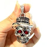 D-CLICK TM High Quality 8GB/16GB/32GB/64GB/ Fashion Jewelry Bling Shiny Crystal Diamond pendant USB High speed Flash Memory Stick Pen Drive Disk Necklace (8GB, Skull)