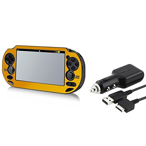 Everydaysource® Gold Aluminum / Plastic Case Cover+Dc Charger W/Usb Cable Lead Compatible With Sony Ps Vita Psv New