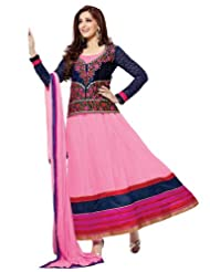 Anarkali Style Light Pink Georgette Semi Stitched Salwar Suit| Riti Riwaz - EL10004
