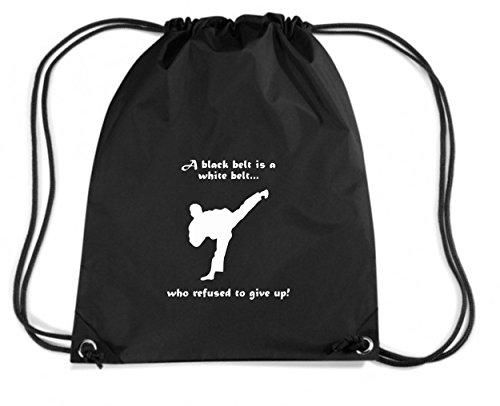 T-Shirtshock - Zaino Zainetto Budget Gymsac TAM0008 black belt refusal dark tshirt, Taglia Capacita 11 litri