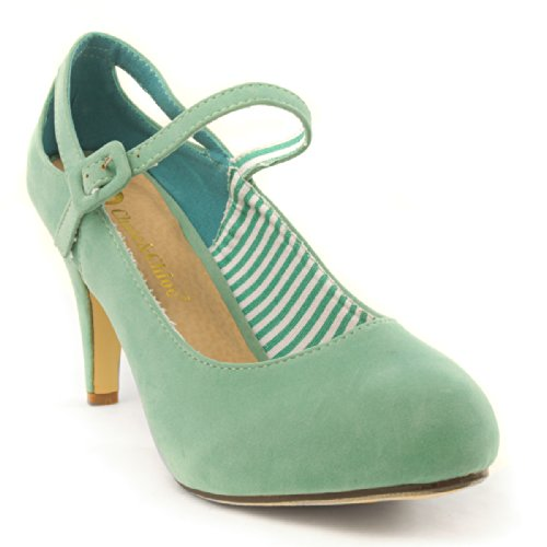 Chase & Chloe Womens 36-Cody3 Closed Toe Mary Janes High Heel Pumps, Mint Faux Suede, 7.5 B (M) Us