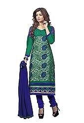 Blissta Women's Cotton Salwar Suit Dress Material (GTARA02_Green0)