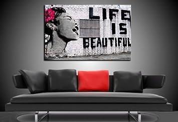 Druck Auf Leinwand Banksy Graffiti Bild 100x70cm K Poster
