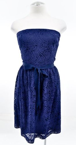 Trina Turk Navy Blue Lace Zafira Strapless Dress