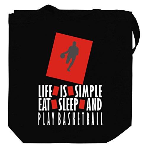 Life Is Simple Eat, Sleep And Basketball Canvas Tote Bag