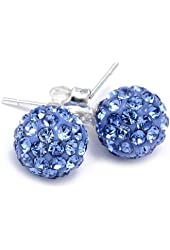 .925 Sterling Silver Blue Crystal Ball 8mm Stud Earrings