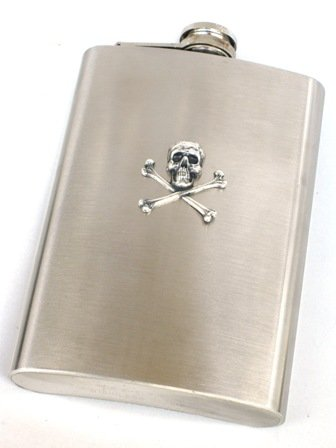 Steampunk Skull & Crossbones Flask Stainless Steel Metal 8Oz Groomsman Gift S1