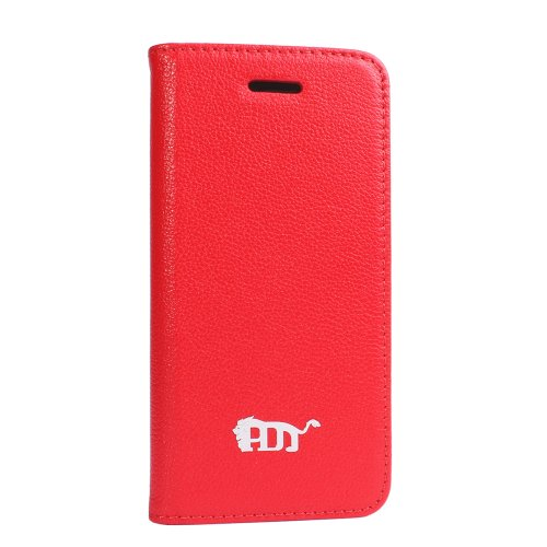 Special Sale Pdncase Genuine Leather Phone Case Folio Type Lychee Pattern Compatible for iPhone 5S Color Red