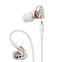 GranVela MX310 Plus Dynamic Drice In-Ear Stereo Earphones Noise-isolating Headphones with Microphone, Memory Wire, Remote and Universal Volume Control for Sport and Musician\'s Earbuds
