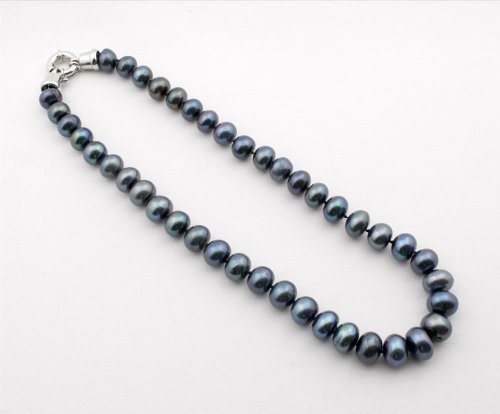 Pearl Strand Necklace 12-13 mm Graduated Tahitian Black Pearl, 18-Inch, EE-413