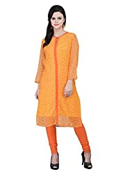 Georgette Printed Mustard Ethnic Kurta/Kurti/Top For Women.
