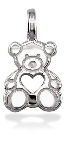 Medium Size Sterling Silver Bear with Open Heart Picture