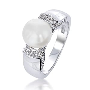 Bling Jewelry Pave CZ Art Deco Freshwater Pearl Ring