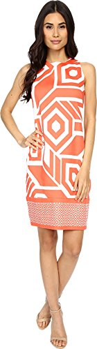 London Times Women's Sleeveless Printed Shift Cream/Coral Dress 12