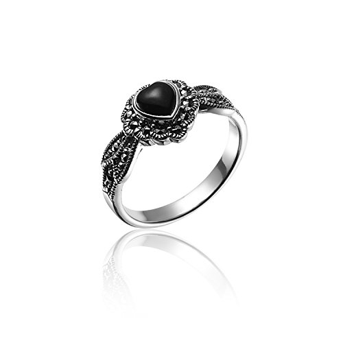 925 Oxidized Sterling Silver Swarovski Marcasite Black Onyx Heart Leaf Ring Size 7 - Nickle Free (Black Rings For Teens compare prices)