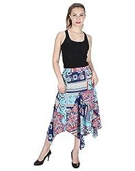 Miway Women's Print Polyester Blues Skirt (BLUE, 32)