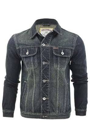 Mens Denim Jacket By Soul Star 'Leonard' Classic Vintage Wash Jean Coat (Leonard (Dark Wash)) S