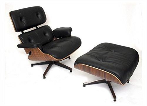 Meubles Shop UK Reproduction Eames Lounge Fauteuil et repose-pieds en cuir, taille: h 84cm, W 80cm, D Tabouret 52x 52cm, h 48cm, W 64cm, P 54cm