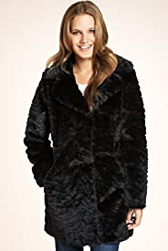 Faux Fur Large Collar Single Breasted Coat
