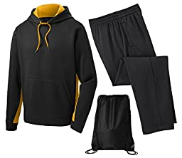 Sport Tek Men\'s Sport Wick Fleece Tracksuit, 3XL, Gold/Black