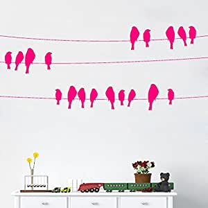 DeStudio Bird On Wire Chalkboard Wall Decal, Size XXX Large & Color : PINK