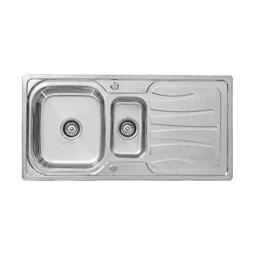ENKI - Lavello a incasso - 1 vasca e 1/2 - gocciolatoio - acciaio inox