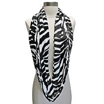 Luxury Divas Black White Zebra Stripe Ultra Plush Faux Fur Infinity Circle Scarf